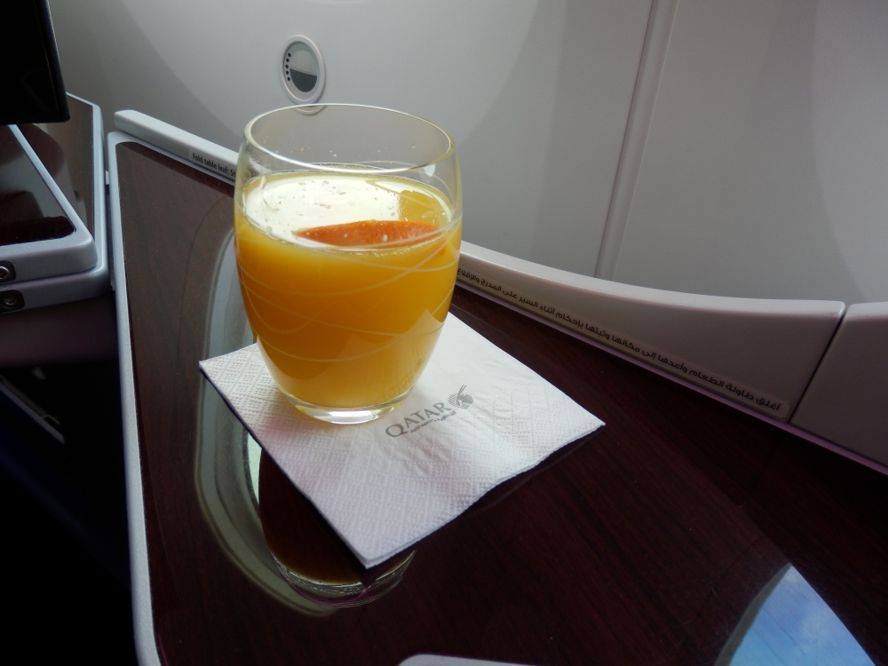 FRESHLY SQUEEZED ORANGE JUICE BEFORE TAKEOFF
