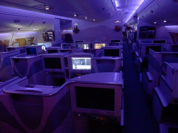 BUSINESS CLASS: SMALLER CABIN WITH MOOD LIGHTING