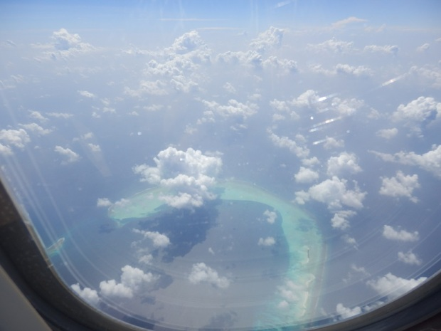 ABU DHABI TO MALE: AERIAL VIEW OF THE MALDIVES