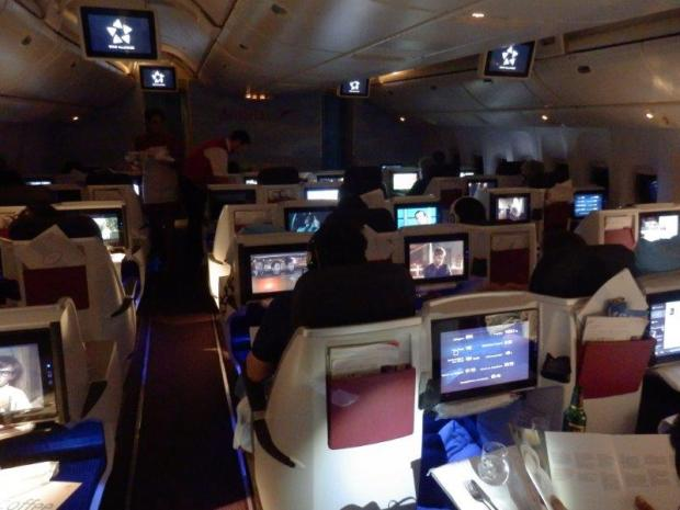 BUSINESS CLASS CABIN AFTER DINNER