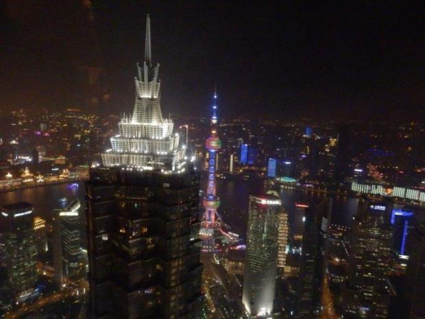 VIEW TOWARDS THE BUND FROM THE LOBBY LOUNGE (AT NIGHT)
